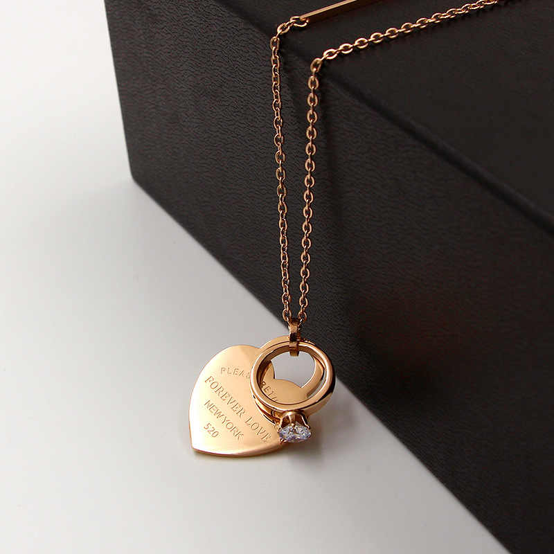 Fashion Brand Rose Gold Color Stainless Steel Forever Love Heart Crystal Circle Pendant Necklace Sweater Chain Women Gift