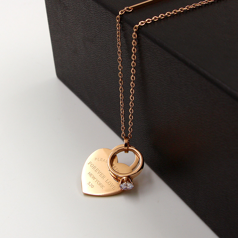 2018 Fashion Brand Rose Gold Color Stainless Steel Forever Love Heart Crystal Circle Pendant Necklace Sweater Chain Women Gift yoursfs love you forever white gold plated heart in circle pendant necklace with austrian crystal open heart silver necklace wo