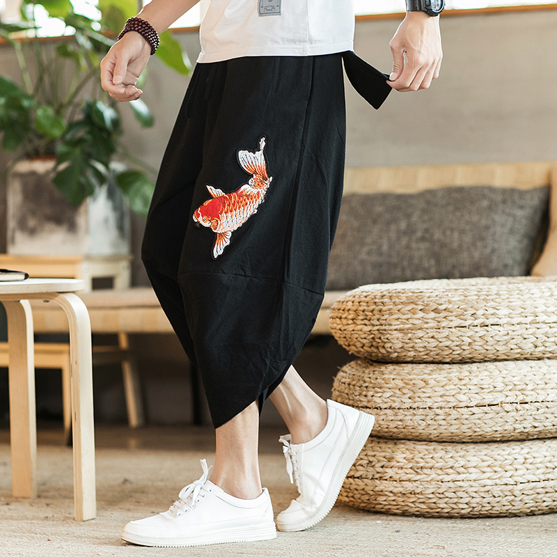 Mens 2019 New Beach Pants Male Summer Casual Pants Man Carp Embroidery Baggy Loose Trousers