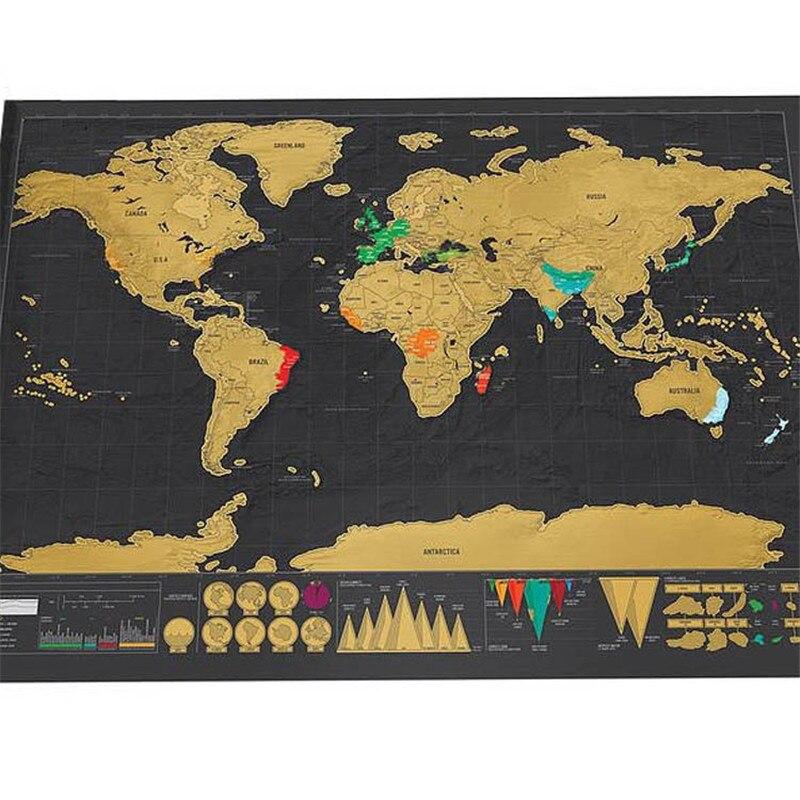 NEUE HEIßE Deluxe Scratch Karte 1 Stück schwarz mapa kreative scratch off karte reise scratch weltkarte mapa mundi rascar 82,5x59,5 cm