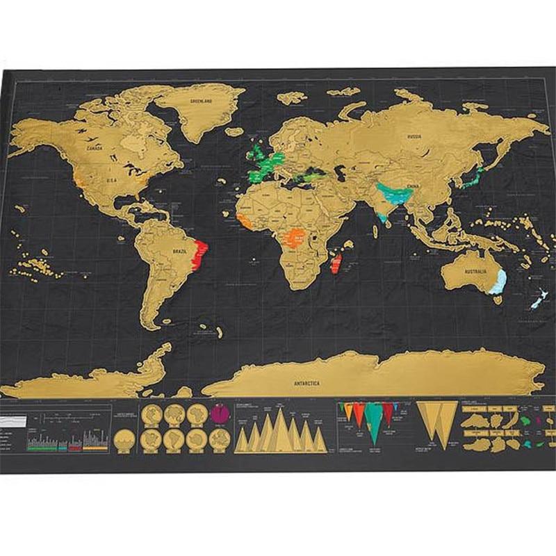 Nuevo caliente Deluxe mapa 1 pieza negro mapa creativo rasguño mapa del mundo de cero mapa mundi rascar 82,5x59,5 cm