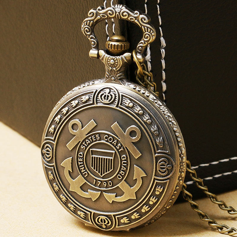 United States Coast Guard 1790 Theme Retro Bronze Quartz Fob Pocket Watch With Necklace Chain Gift For Birthday Christmas