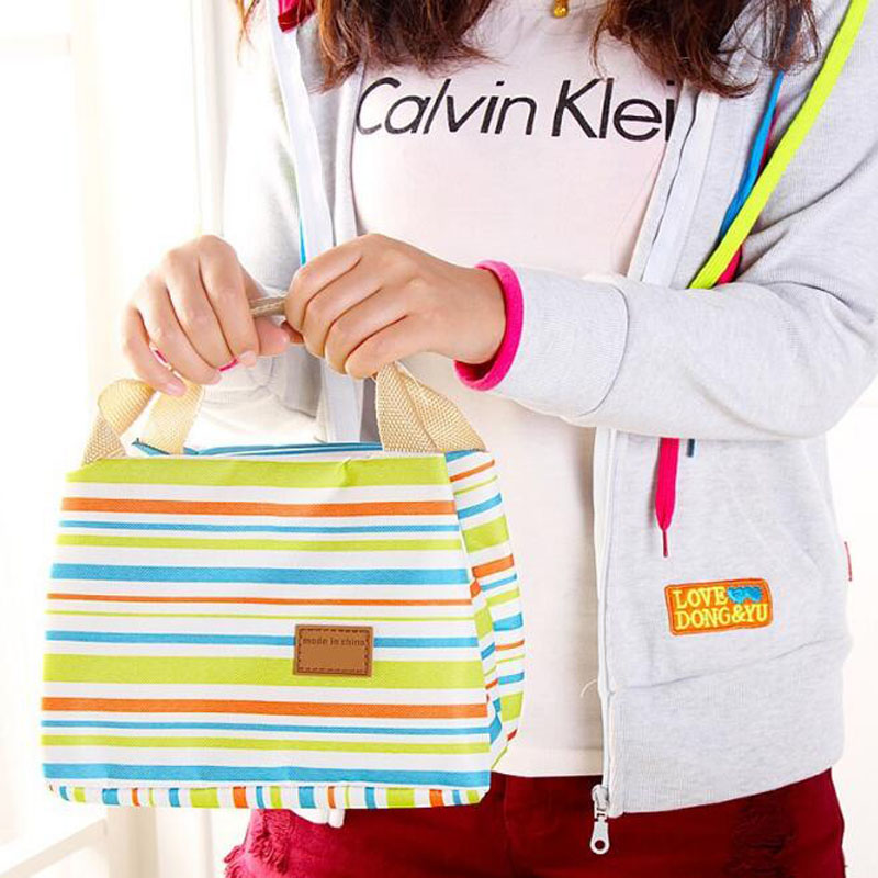 Multifunction Waterproof Portable Thermal Insulated Stripe Food Picnic Lunch Bags For Women Kids Men Cooler Lunch Box Bag Tote