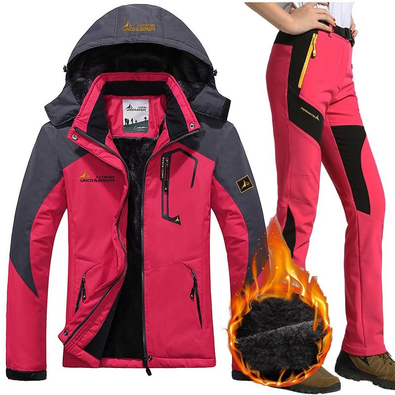 Waterproof Ski Suit Women Ski Jacket Pants Female Winter Outdoor Mountain Skiing Snow Snowboard Inner Fleece Warm Jackets Pants