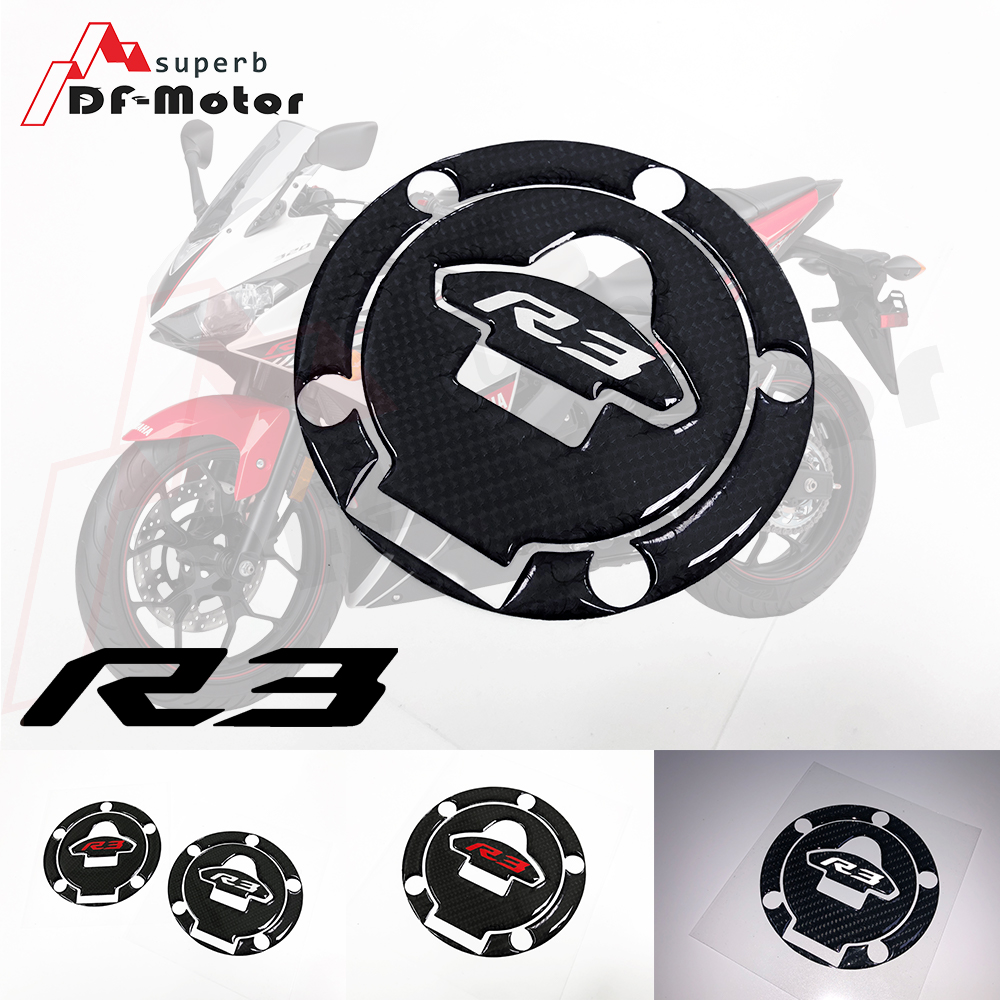 3D Carbon Motorcycle Gas Tank Sticker Fit Yamaha YZF R1 R1S R1M R3 R6 R6S R7