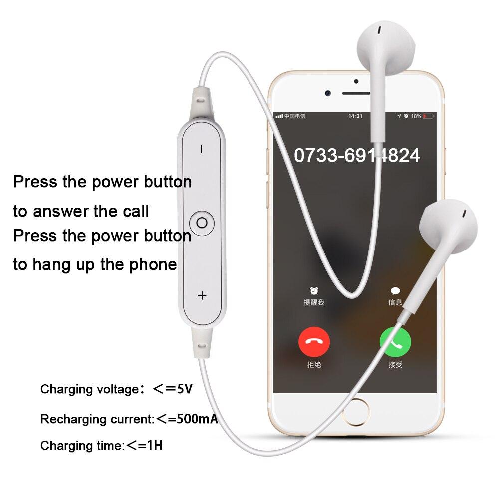 High Quality S6 Sports Wireless Bluetooth Earphones Headset Earpiece Headphones With Mic black 3