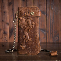The First Layer of Leather Wallet Anti theft Iron Chain Oil Wax Leather Retro Pressure Dragon Wallet B161