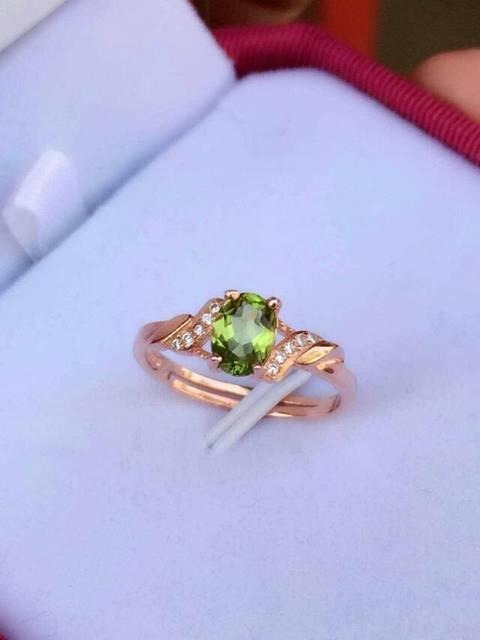 Natural green peridot Ring Natural gemstone Ring S925 sterling silver trendy Elegant waves  women girl wedding gift Jewelry
