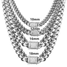 Granny Chic 10-18mm Stainless Steel Miami Cuban Curb Chain White Rhinestone Clasp Mens Womens Silver Necklace Or Bracelet Jewelr