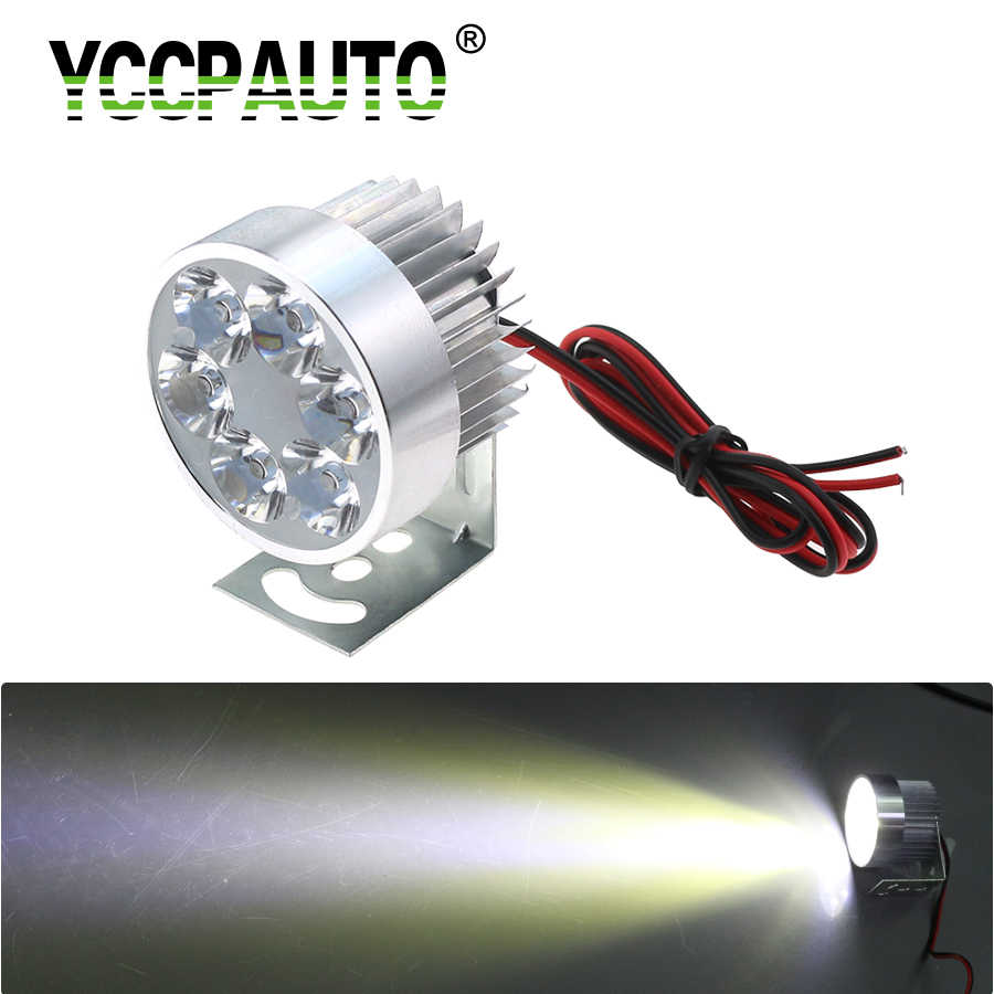 YCCPAUTO 1Pcs Universal LED Motorcycle Headlight Fog Lamp 10W White 6 LED Moto Motorbike Scooter Headlights Silver 12V-80V
