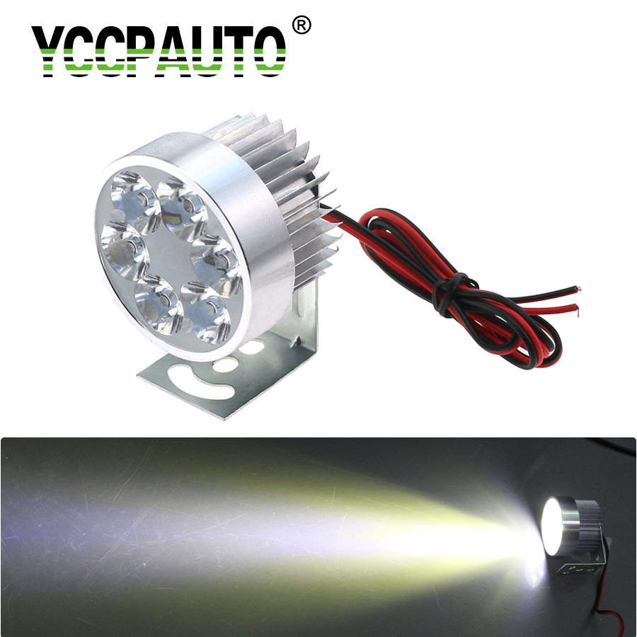 YCCPAUTO 1Pcs Universal LED Motorcycle Headlight Fog Lamp 10W White 6 LED Moto Motorbike Scooter Headlights Silver 12V-80V