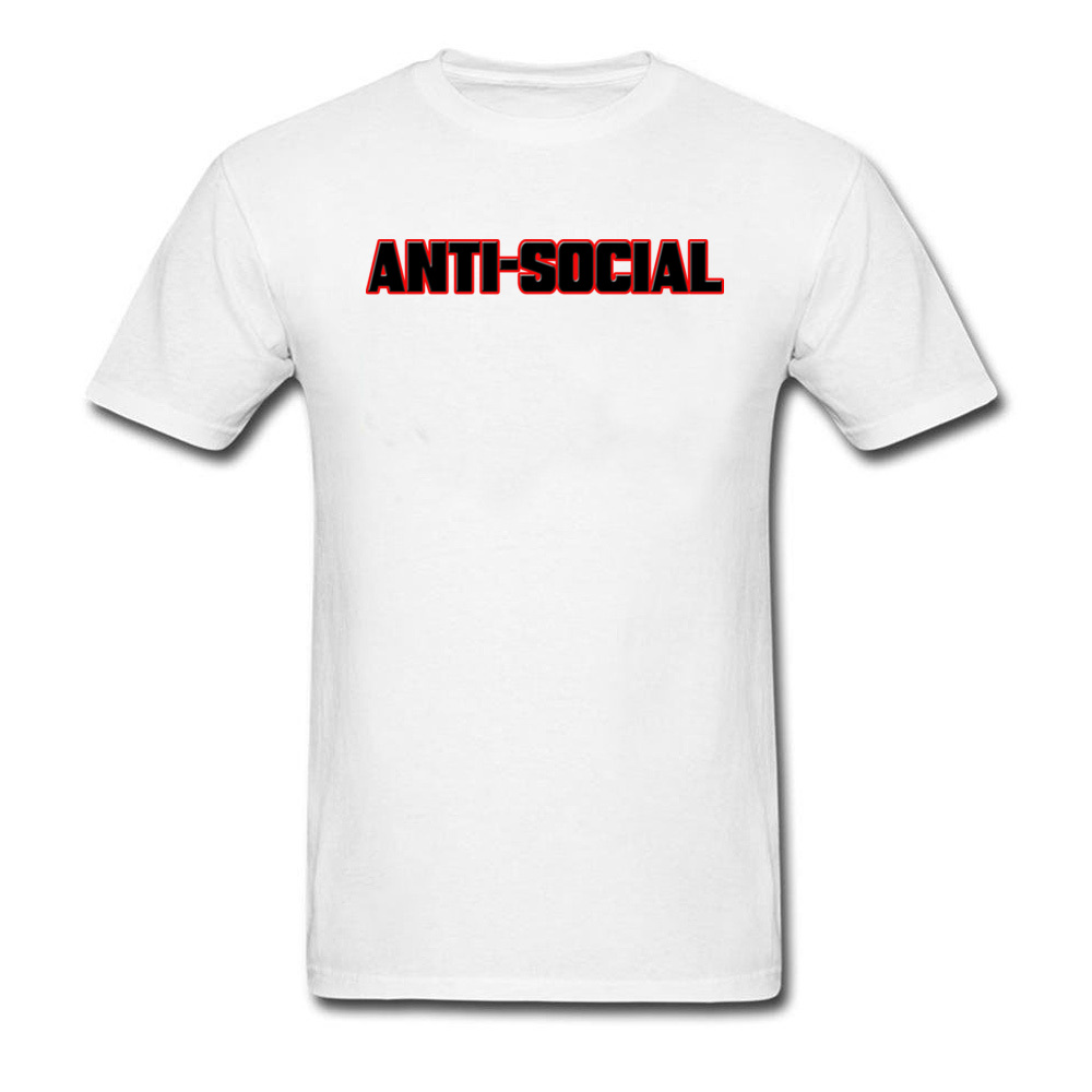 Cute ANTI-SOCIAL BEHAVIOR Unique T Shirt Round Collar Pure Cotton Men Tops & Tees Short Sleeve Fall Unique Sweatshirts