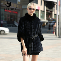 JEPLUDA Latest Color Women Natural Real Rex Rabbit Coat Loose Bat Style Double Sided Real Fur