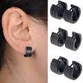 Fashion Gothic Punk 1 Pair Stainless Steel Mens Stud Earrings Frosted Jewelry Black Earrings Free Shipping