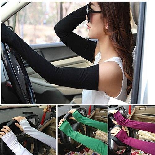Women Long Fingerless UV Sun Protection Golf Driving Cotton Gloves Sleeves