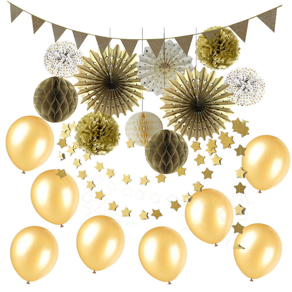 21pcs Gold Party Decoration Set Gold Flag Banner Paper Fans Honeycomb Balls Latex Balloons Star Garland for Birthday Wedding