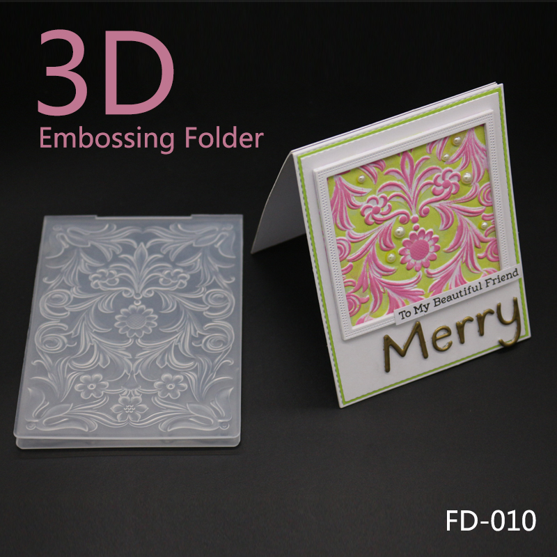 AZSG Merry Christmas Flowers Plastic Embossing Folder For Gift Scrapbooking Type Photo Album Card Paper Craft Template Mold