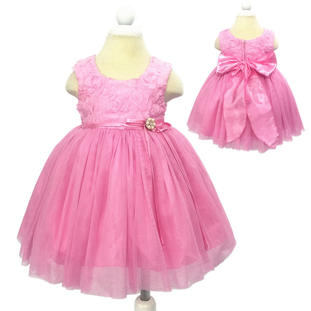 Free Shipping Pink Infant Dress 2016 New Design Baby Girl Dress For 1 Year Birthday Girls Baby Prom Gown With flower Rose ME-14A