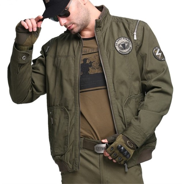 a62df168d17ca M-4XL Spring Autumn Men Jacket Safari Coat Cotton Military Jacket Stand  Collar Plus Size Long-sleeve Jacket