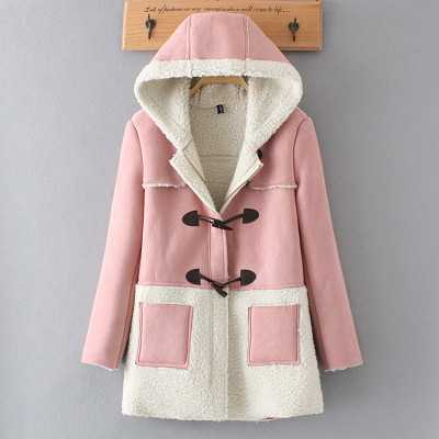 ФОТО  Winter Jacket Women Thick Lamb Wool Suede CoatsWoolen Winter Coat Women Hooded Warm Parkas Jackets Female A4332