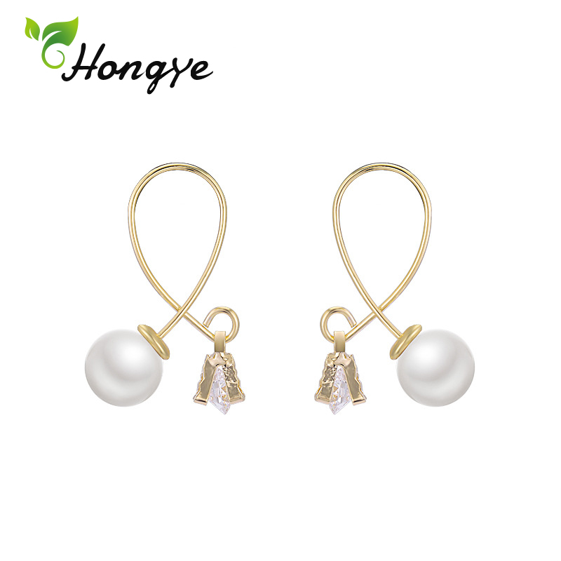 Hongye Drop Earrings Fashion Jewelry Simple Knot Women Pearl Earrings 925 for Sensitive Ears Brand New Big Dangler Ear Jewelry in Earrings from Jewelry Accessories
