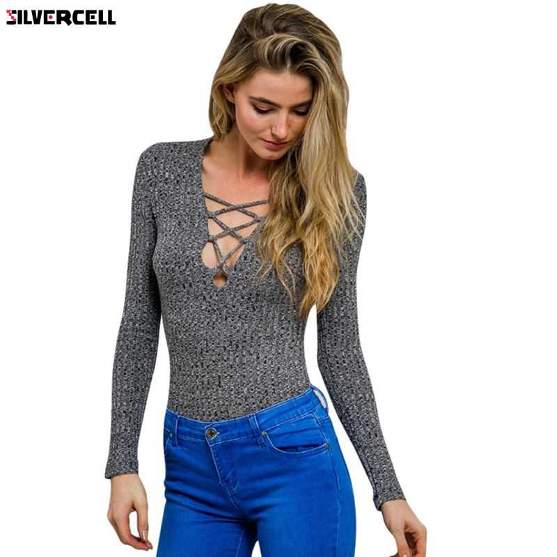 2017 New Charcoal lace up fall spring knitted tops sexy v neck sweater women cross tops