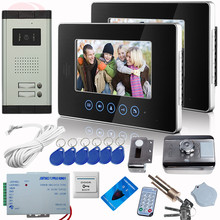 """Home Security 7"""" LCD Monitor Video Door Phone Intercom System + Rfid Unlock Electronic Lock Video Door 2 Monitor Touch Button"""
