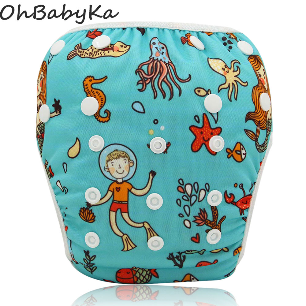 Baby Infant Swim Nappies Reusable Newborn Swimwear Cute Baby Swimsuit Brand Baby Bathing Suit Adjustable Swim Diapers for Babies