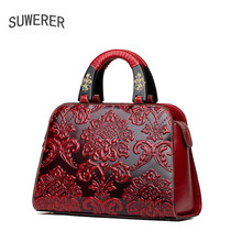 SUWERER 2019 New Genuine Leather women bags Retro Handmade embossing luxury leather shoulder bag designer women famous brands suwerer 2018 new genuine leather women bags luxury handmade embossing cowhide big tote women bags designer women famous brands