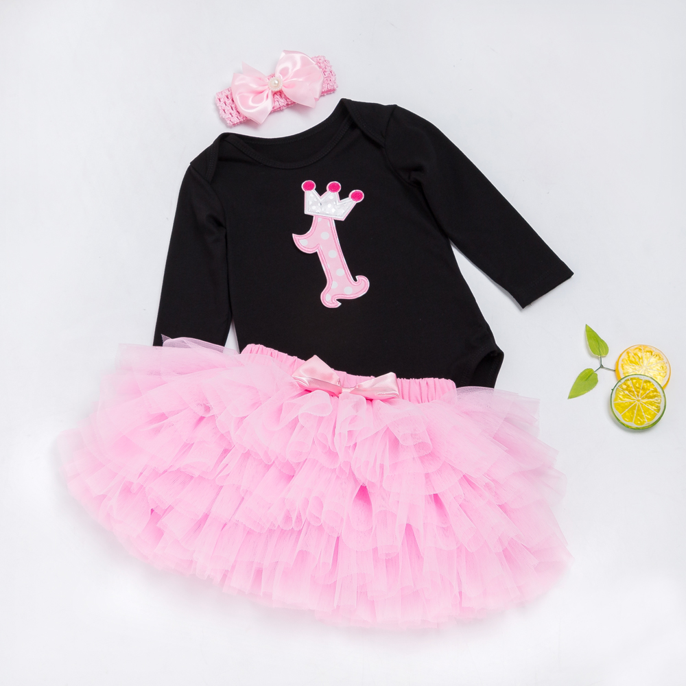 Baby-Girl-Clothing-Sets-Black-Bodysuit-jumpsuits-Girls-Pettiskirt-Set-Pink-Princess-Tutu-Skirt-Headband-Newborn-Clothes-5