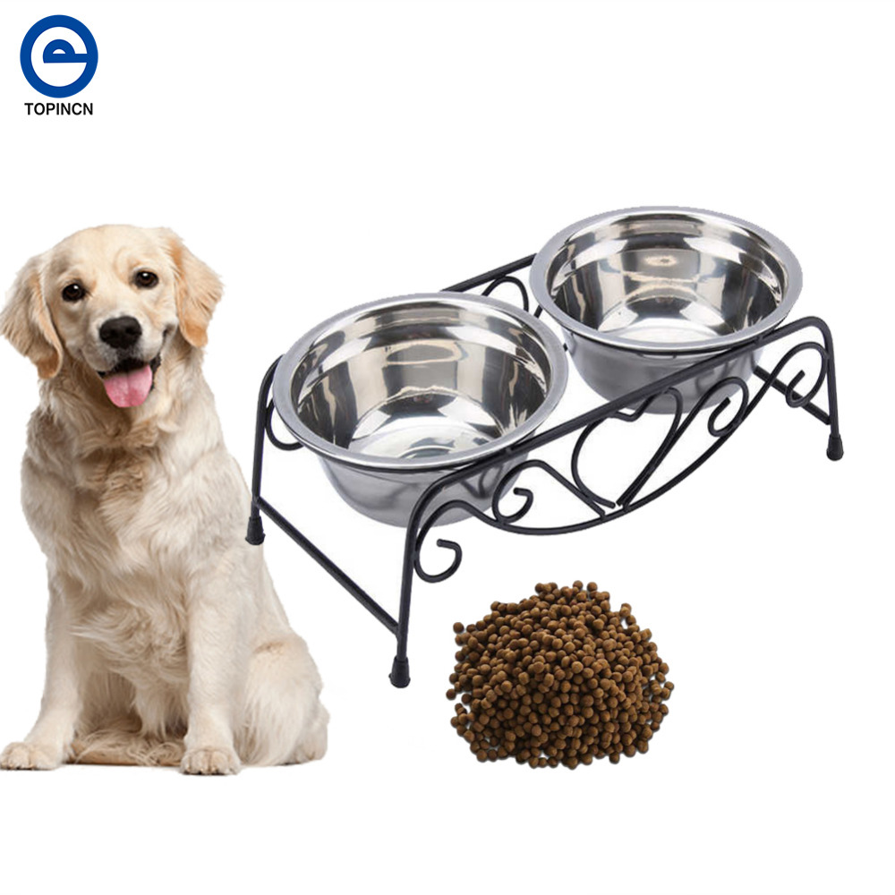 Double Stainless Steel Bowls Dog Cat Pet Food Water Feeder Dish With Retro Iron Stand Pet Food Bowls For Dog