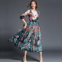 Floral Print Dress Newest 2017 Fashion Brand O Neck 3 4 Sleeve Women Autumn Winter Vintage