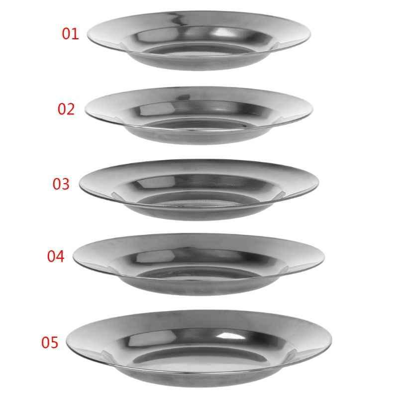 الفولاذ المقاوم للصدأ جولة طبق عشاء طبق صينية الغذاء الحاويات في الهواء الطلق التخييم نزهة أدوات المائدة 16-24 سنتيمتر جديد وصول