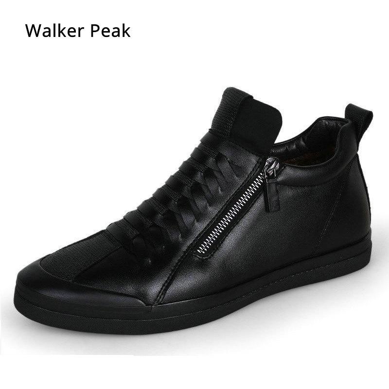 Mens chaussures décontracté créateur de mode véritable chaussures en cuir pour hommes Slip sur mocassins Noir sneakers Hiver Automne hommes chaussures de Marque
