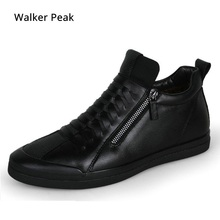 Mens shoes casual fashion designer genuine leather shoes for men Slip on loafers Black sneakers Winter Autumn men's shoes Brand