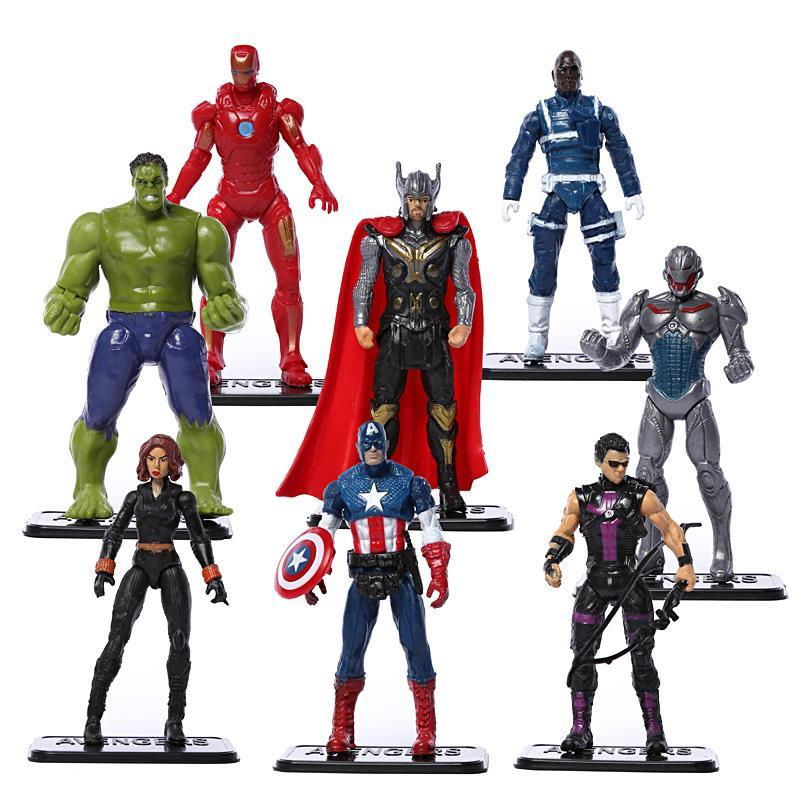 Avengers Age of Ultron Hulk Thor Iron Man Captain America Hawkeye Black Widow Quicksilver PVC Figure Toys 8pcs/set чехол для iphone 6 глянцевый printio милый череп