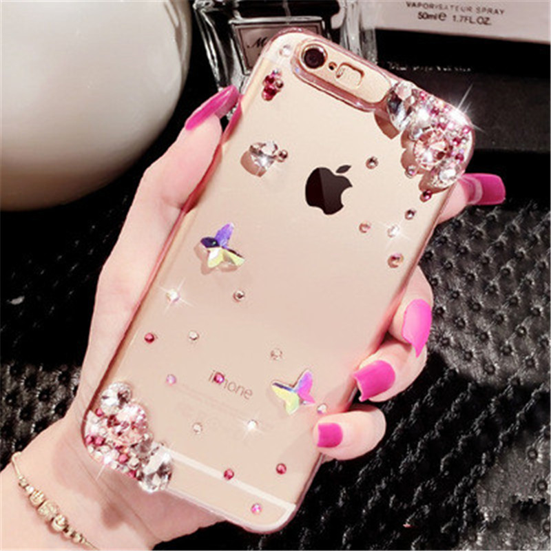 Lucklywang for iphone 7 case ultra-thin transparent diamond luxury call flash for iphone 8 case mobile phone package