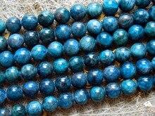 Envío gratis (40 perlas/cadena) natural 9.5-10mm azul apatita ronda suelta perlas de piedras preciosas para la fabricación de joyas