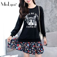 MissLymi 5XL Plus Size Women Dress 2017 Autumn Winter Cartoon Cat Print Floral Patchwork Long Sleeve