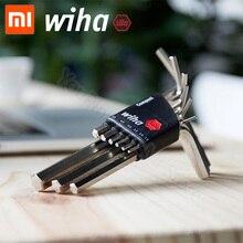 Xiaomi Wiha Kit de llave Hexagonal interna, Original de 9 piezas, juego de llave de tamaño común, Mini juego de bolsillo portátil, herramientas de reparación con Clip