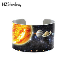 Solar System Bracelets Stacking Set of Gold and Silver Planet bangle Outer Space Jewelry Galaxy Jewellery Milky Way cuff(China)