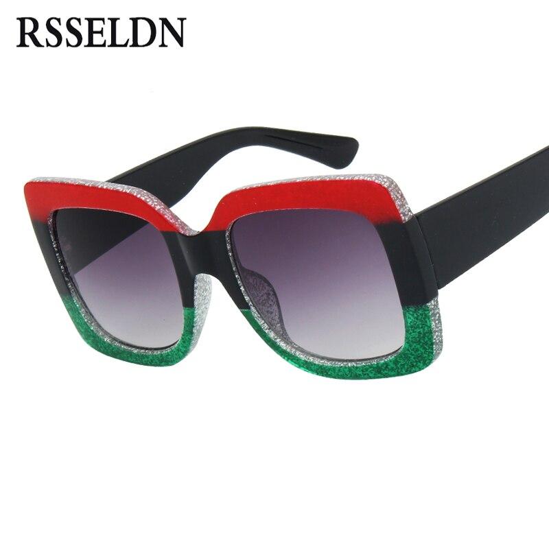 RSSELDN Luxury Square Sunglasses Women Fashion Brand Designer Gradient Lens Sun Glasses Ladies 2018 Popular Men Shades UV400