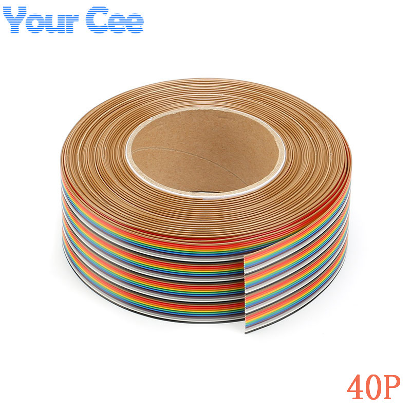 Rainbow Ribbon Cable 4 Conductor : M mm spacing pitch way pin dupont flat color