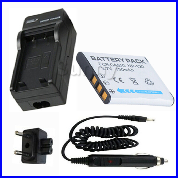 <font><b>Battery</b></font> and Charger for Casio <font><b>NP</b></font>-<font><b>120</b></font>,NP120 and Casio Exilim EX-ZS10, EX-ZS15, EX-S200, EX-S300, EX-Z690, EX-Z680 Digital Camera image