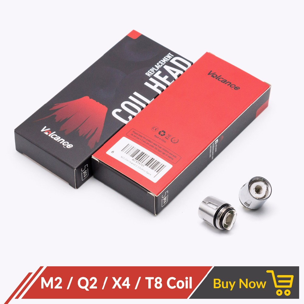 Volcanee 5pcs/lot Replacement Coil Head Q2 X4 T8 M2 for TFV8 Baby TFV8 Big Baby Tank Electronic Cigarette Atomizer Vape Coils