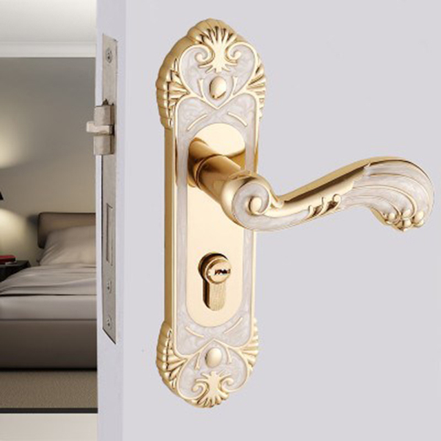 Ordinaire Modern Zinc Alloy Door Locks European Gold Indoor Handle Locks Bedroom  Kitchen Interior Lock Bronze Hardware