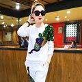 Europeu novo terno do lazer com lantejoulas Phoenix rousers Conjuntos terno Das Mulheres