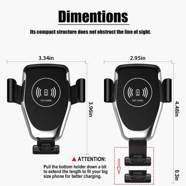 Automatic Gravity Qi Wireless Car Charger Mount For IPhone 11 XS XR X 8 10W Fast Charging Phone Holder for Samsung S10 S9 5