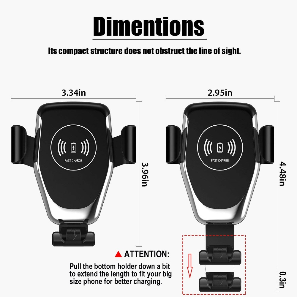 Image 5 - FDGAO Automatic Gravity Qi Wireless Car Charger Mount For IPhone 11 XS XR X 8 10W Fast Charging Phone Holder for Samsung S10 S9-in Mobile Phone Chargers from Cellphones & Telecommunications