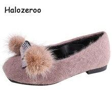 a62c2a21 Halozeroo nuevo bebé de invierno de piel de negro zapatos chico marca  strass holgazán suave de los niños de moda caliente zapato.